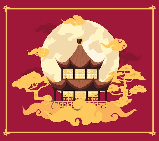 Chinese moon poster with temple