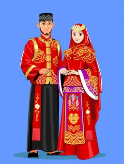 빨간색과 검은 색 전통 옷을 입고 중국 이슬람 신부