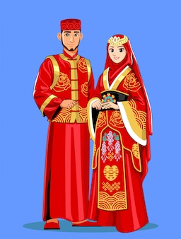 Chinese muslim brides in red traditional clothes