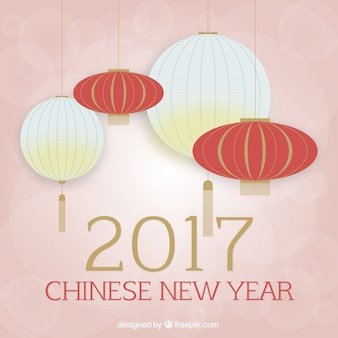 Chinese new year 2017, background with lanterns