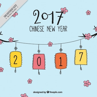 Chinese new year 2017, hand drawn