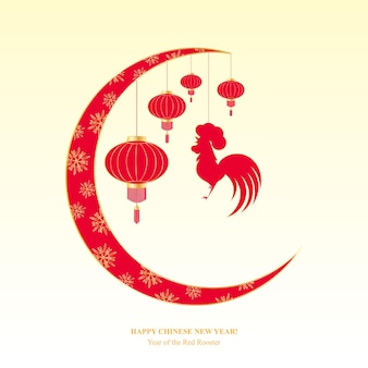 Chinese new year 2017. spring festival. greeting card with hanging rooster, lantern.