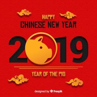 종이 스타일에서 중국 새 해 2019 배경