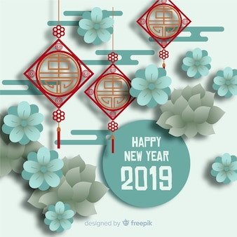 Chinese new year 2019 background in paper style