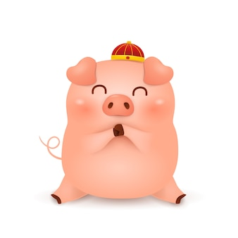 Chinese new year 2019. cute cartoon little pig character design with traditional chinese red hat