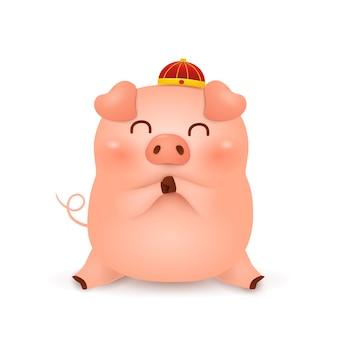 中国の旧正月2019。伝統的な中国の赤い帽子のかわいい漫画の子ぶたキャラクターデザイン