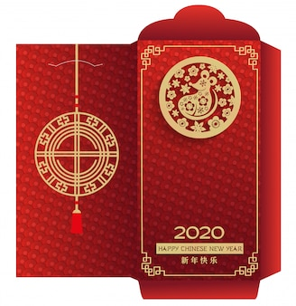 Chinese new year 2020 money red envelop vertical packet, gift box packaging template. gold paper cut zodiac rat and lantern on red color ornate.