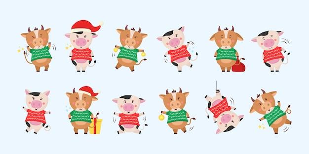 Китайский новый год 2021 корова с золотым знаком. китайский лунный зодиакальный символ 2021 года. календарь. дизайн фермы. дизайн элемента шаблона