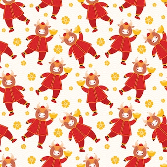 Chinese new year 2021 ox. seamless pattern bull in traditional red clothes with gold coins and bars;