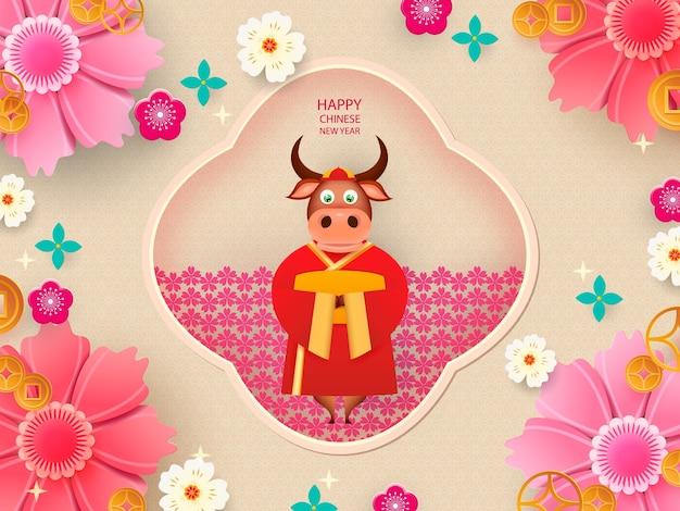 Китайский новый год 2021 год быка. бык, цветы и азиатские элементы.
