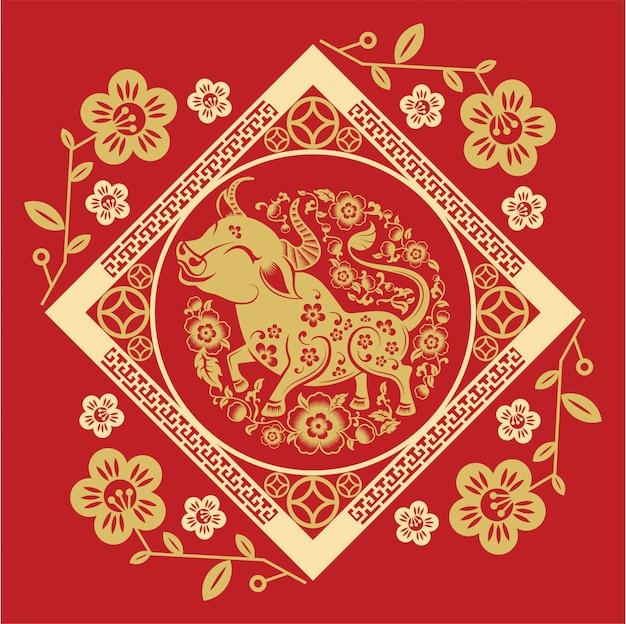 Китайский новый год 2021 год быка, азиатский фон