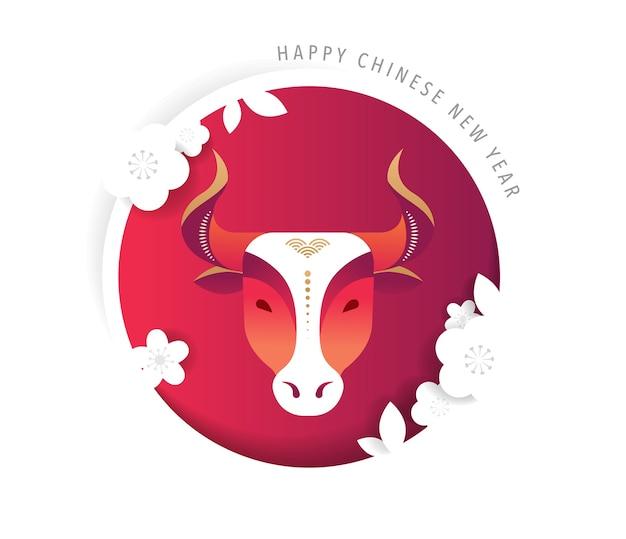 Китайский новый год 2021 год быка, красной коровы, символа китайского зодиака. векторный фон с