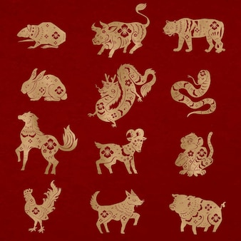 Chinese new year animals vector gold animal zodiac sign stickers set