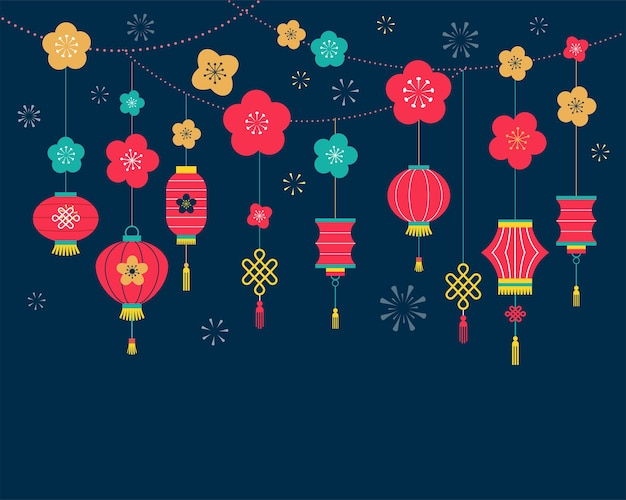 Chinese new year background, card print, banner etmplate