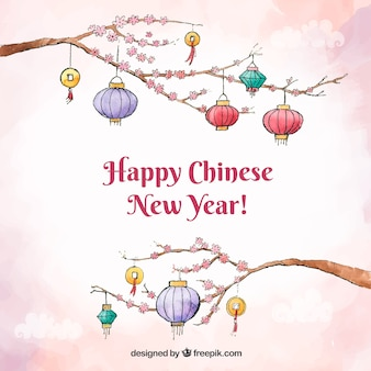 Chinese new year background design with lanterns on branches