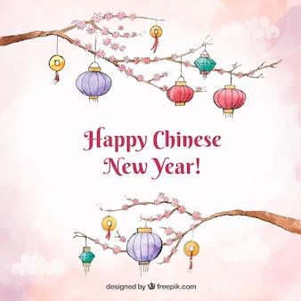 枝の灯籠と中国の新年の背景のデザイン