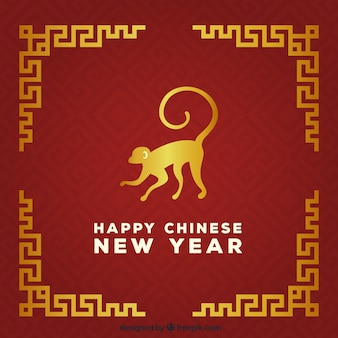Chinese new year background in golden an red color