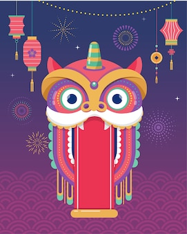 Китайский новый год фон, шаблон поздравительной открытки с танцем льва, персонаж красного дракона