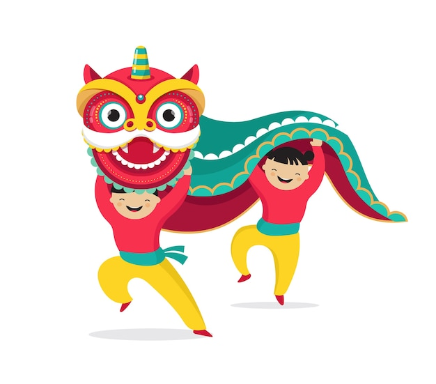 中国の旧正月の背景、獅子舞、赤いドラゴンのキャラクターとグリーティングカードテンプレート