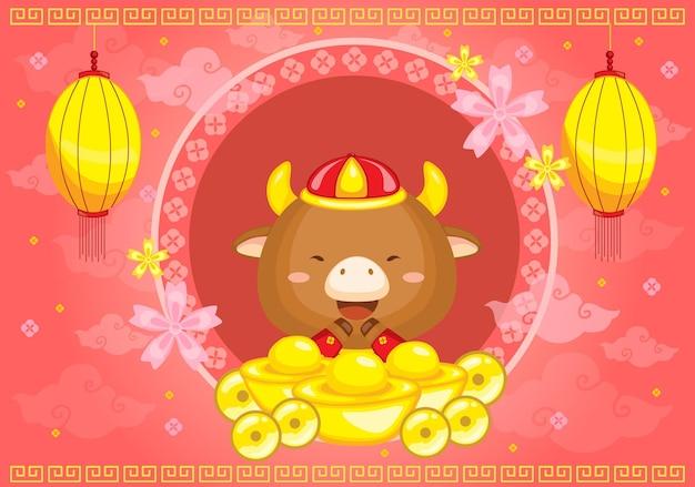 Китайский новый год фон вектор год быка