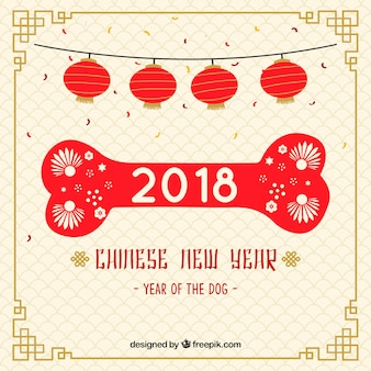 Chinese new year background with bone