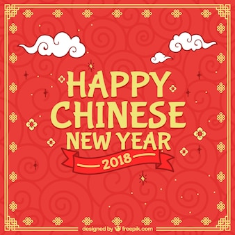 Chinese new year background with clouds