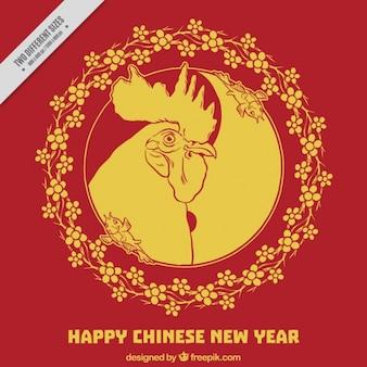 Cinese nuovo anno con sfondo cornice floreale