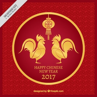 Chinese new year background with golden roosters and lantern