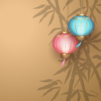 Chinese new year background with hanging paper lanterns and a bamboo silhouette