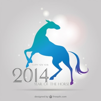 Chinese new year background with horse silhouette