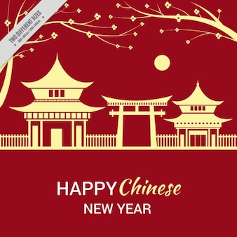 Chinese new year background with landscape