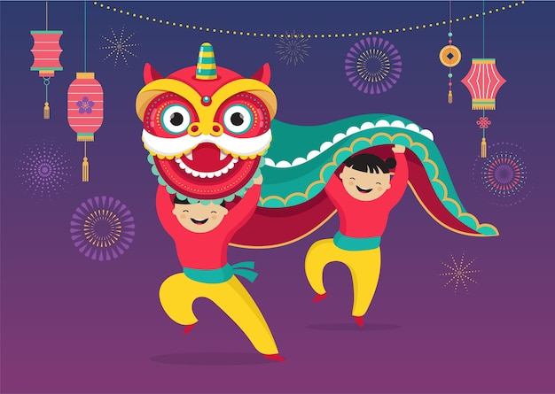 Chinese new year background, with a lion dance, red dragon character