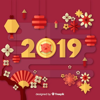 Chinese new year background with pig