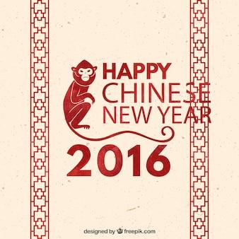 Nuovo sfondo cinese anno con la decorazione rossa