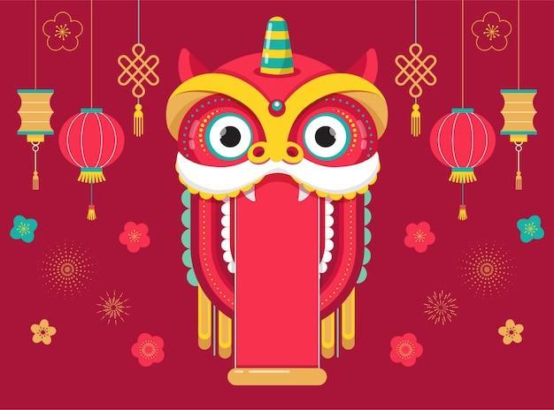 Китайский новый год фон с красным драконом