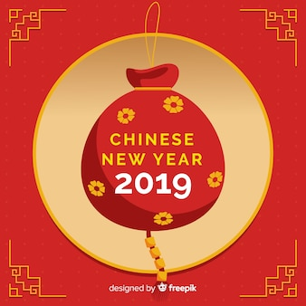 Chinese new year background with red sack