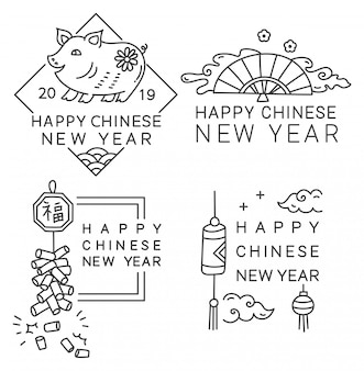 Chinese new year badge in line style vector