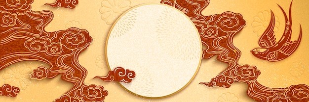Chinese new year banner design with swallow and clouds in paper art style