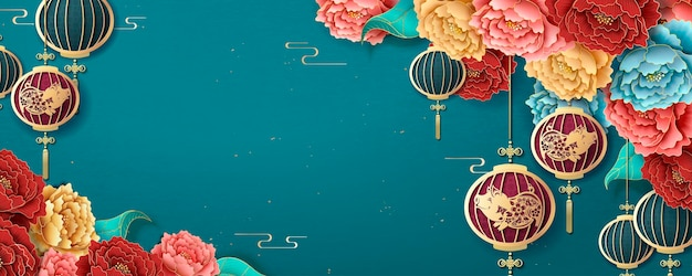Chinese new year banner template with hanging lanterns and colorful peony on turquoise background