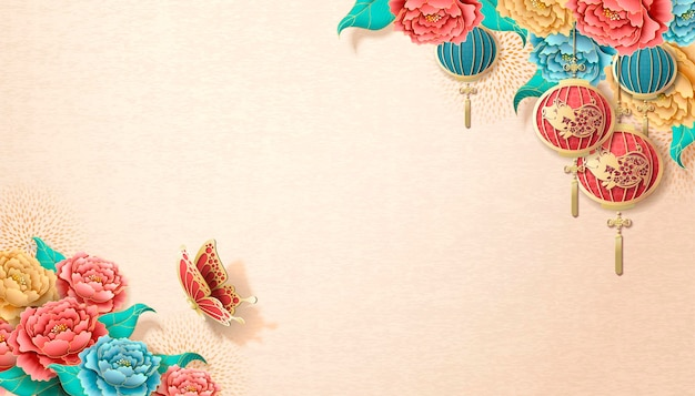 Chinese new year banner template with peony flowers and hanging lanterns