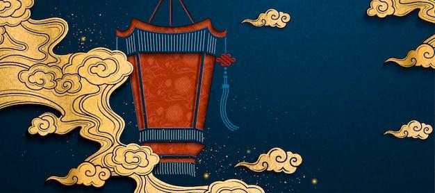 ペーパーアートスタイルの宮殿のランタンと黄金の雲と中国の旧正月のバナー