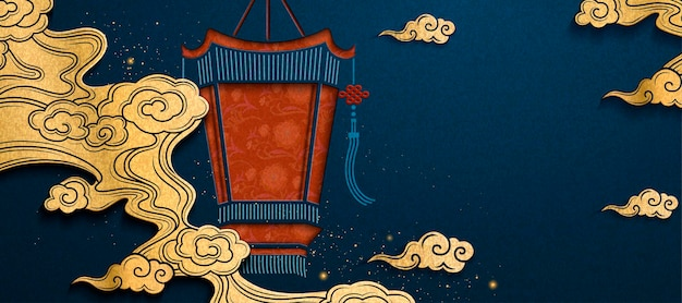 Chinese new year banner with palace lantern and golden cloud in paper art style Premium Vector