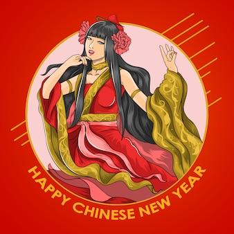 中国の新年の美しい女の子