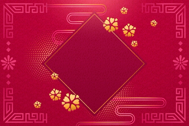 Chinese new year blank template with spring couplet and flowers