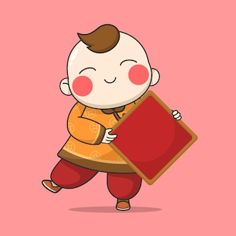 Китайский новый год мальчик держит доску