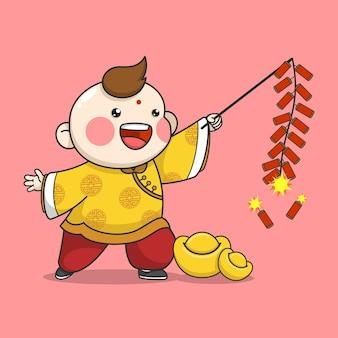 爆竹を演奏する中国の旧正月の少年