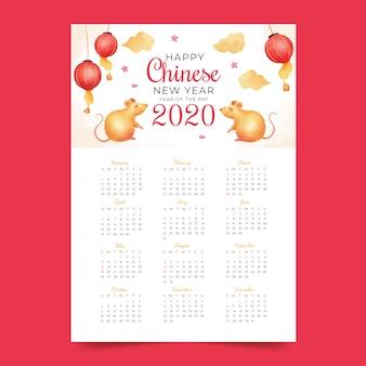 Шаблон календаря китайского нового года