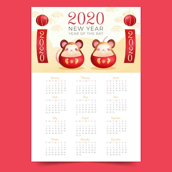 Chinese new year calendar in watercolor