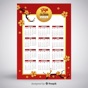 Chinese new year calendar with flowers
