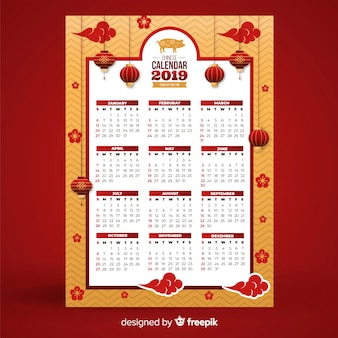 Chinese new year calendar with lamps